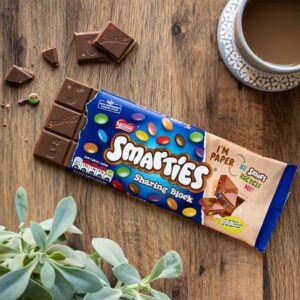 Smarties sharing block in a recyclable paper wrapper